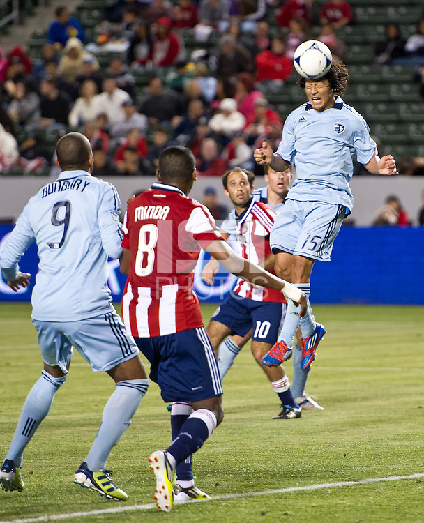CARSON, CA - April 1, 2012: Roger Espinoza (15) of KC during the Chivas USA vs Sporting KC match at the Home Depot Center in Carson, California. Final score Sporting KC 1, Chivas USA 0.