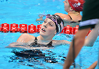 July 30, 2012..Missy Franklin looks at the clock after swimming womens's 200m freestyle semifinal at the Aquatics Center on day three of 2012 Olympic Games in London, United Kingdom.