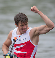 Lucerne, SWITZERLAND<br /> DEN LM2X. Madas RASMUSSEN, celebartes qualifing for the Tuesday final of the Lightweight Men's Double Sculls, at the 2016 European Olympic Qualifying Regatta, Lake Rotsee.<br /> <br /> Monday  23/05/2016<br /> <br /> [Mandatory Credit; Peter SPURRIER/Intersport-images]