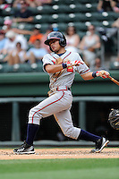 Second baseman Omar Obregon (2) of the Rome Braves bats in a game against the Greenville Drive on Sunday, June 14, 2015, at Fluor Field at the West End in Greenville, South Carolina. Rome won, 5-2. (Tom Priddy/Four Seam Images)