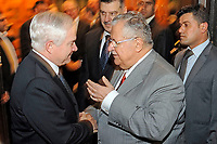 United States Defense Secretary Robert M. Gates, left, talks with President Jalal Talabani of Iraq at the Presidency Council Diwan in Baghdad, Iraq December 10, 2009. Secretary Gates is on his first trip back to southwest asia after President Obama agreed to send an additional 30,000 troops to Afghanistan. <br /> CAP/MPI/CNP/RS<br /> &copy;RS/CNP/MPI/Capital Pictures