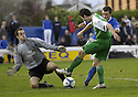 24/02/2007       Copyright Pic: James Stewart.File Name : sct_jspa13_qots_v_hibernian.KEEPER JAMIE MACDONALD SAVES AT THE FEET OF IVAN SPROULE.....James Stewart Photo Agency 19 Carronlea Drive, Falkirk. FK2 8DN      Vat Reg No. 607 6932 25.Office     : +44 (0)1324 570906     .Mobile   : +44 (0)7721 416997.Fax         : +44 (0)1324 570906.E-mail  :  jim@jspa.co.uk.If you require further information then contact Jim Stewart on any of the numbers above.........