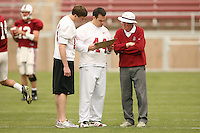 21 April 2007: Chad Hutchinson, Tommy Vardell  and Bob Murphy during the Alumni's 38-33 victory over the coaching staff during a flag football exhibition at Stanford Stadium in Stanford, CA.