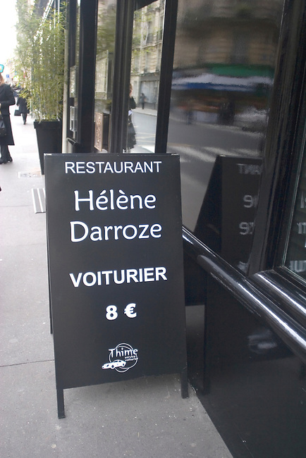 Sign, Exterior, Helen Daroze Restaurant, Paris, France, Europe