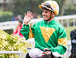 Jockey Silvestre de Sousa riding #4 Let Us Win celebrates after winning Race 4 Maria Galland Handicap during Hong Kong Racing at Sha Tin Racecourse on November 04, 2018 in Hong Kong, Hong Kong. Photo by Yu Chun Christopher Wong / Power Sport Images