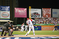 9 March 2009: #12 Ramon Vazquez of Puerto Rico hits the ball during the 2009 World Baseball Classic Pool D game 4 at Hiram Bithorn Stadium in San Juan, Puerto Rico. Puerto Rico wins 3-1 over Netherlands