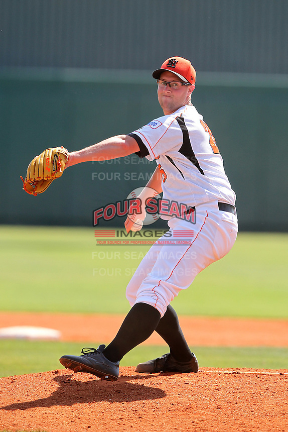 Netherlands pitcher David Bergman #25 during a game vs. the Tampa Bay Rays for an exhibition game at Al Lang Field in St. Petersburg, Florida;  March 9, 2011.  Tampa Bay defeated Netherlands 4-3.  Photo By Mike Janes/Four Seam Images