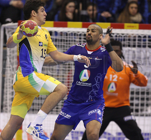 15.01.2013 Granollers, Spain. IHF men's world championship, prelimanary round. The picture shows Arthur Patrianova in action during game between France v Brazil at Palau d'esports de Granollers