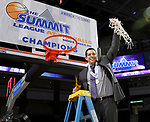 SIOUX FALLS, SD: MARCH 7: Head Coach JD Gravina from the Western Illinois Leathernecks holds up the net after their 77-69 overtime win over IUPUI in the Women's Summit League Basketball Championship on March 7, 2017 at the Denny Sanford Premier Center in Sioux Falls, SD. (Photo by Dave Eggen/Inertia)