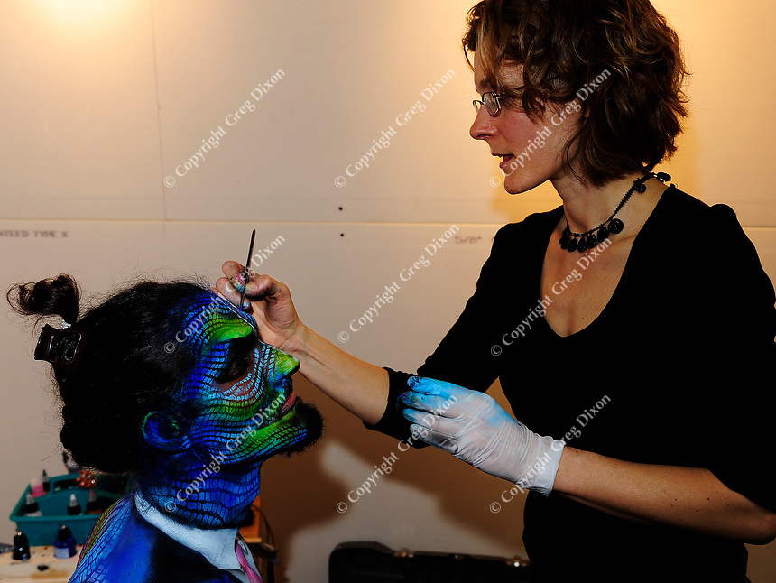 Model, Sorrel Weakland, painted by artist, Ginny O'Neil, competes in the Greater Midwest Body Painting Competition on Saturday, 2/23/13, at Art In Gallery in Madison, Wisconsin
