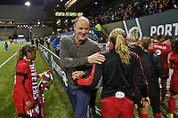 Portland, OR - Saturday, May 21, 2016: Portland Thorns FC majority owner Merritt Paulson congratulates the players afte the match. The Portland Thorns FC defeated the Washington Spirit 4-1 during a regular season National Women's Soccer League (NWSL) match at Providence Park.