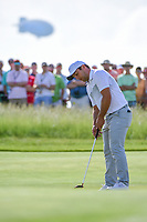 Francesco Molinari (ITA) watches his putt on 11 during Thursday's round 1 of the 117th U.S. Open, at Erin Hills, Erin, Wisconsin. 6/15/2017.<br /> Picture: Golffile | Ken Murray<br /> <br /> <br /> All photo usage must carry mandatory copyright credit (&copy; Golffile | Ken Murray)
