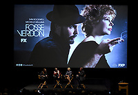 """LOS ANGELES - AUGUST 19: Moderators Madelyn Hammond (L) and Pete Hammond (R) speak with actors Sam Rockwell and Michelle Williams during the AwardsLine Panel screening and conversation for FX's """"Fosse/Verdon"""" at the Zanuck Theatre on the Fox Studio Lot on August 19, 2019 in Los Angeles, California. (Photo by Frank Micelotta/FX/PictureGroup)"""
