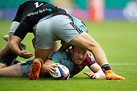 Jake Hennessey of Harlequins presents the ball. Premiership Rugby 7s (Day 2) on July 28, 2018 at Franklin's Gardens in Northampton, England. Photo by: Patrick Khachfe / Onside Images
