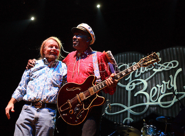 Saturday, December 13, 2008--Joe Edwards, owner of The Pageant, left, introduces Chuck Berry before his sold-out performance..Sarah Conard | freelance