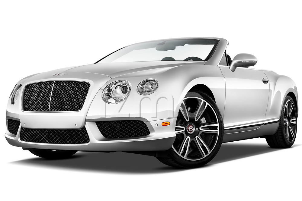 Low aggressive front three quarter view of a 2013 - 2014 Bentley Continental GTC Convertible.