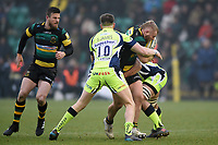 Mike Haywood of Northampton Saints takes on the Sale Sharks defence. Aviva Premiership match, between Northampton Saints and Sale Sharks on March 3, 2018 at Franklin's Gardens in Northampton, England. Photo by: Patrick Khachfe / JMP