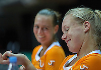 2016, 12 April, Arena Loire, Trélazè,  Semifinal FedCup, France-Netherlands,  Dutch players Cindy Burger and Kiki Bertens (foreground)<br /> Photo:Tennisimages/Henk Koster