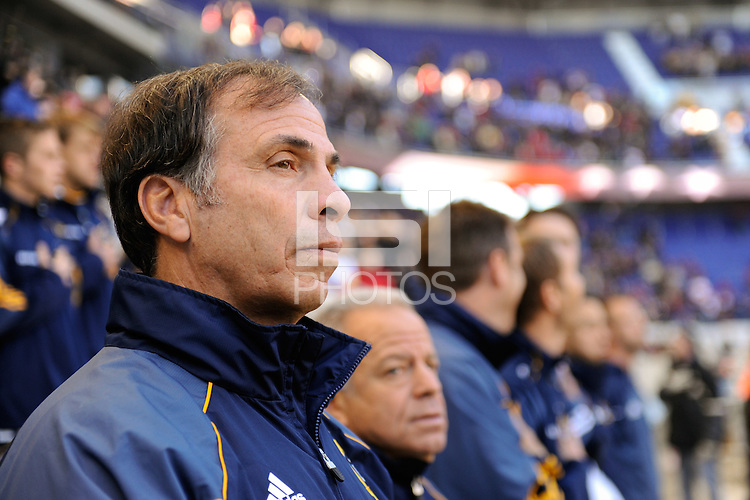 Los Angeles Galaxy head coach Bruce Arena prior to playing the New York Red Bulls during the 1st leg of the Major League Soccer (MLS) Western Conference Semifinals at Red Bull Arena in Harrison, NJ, on October 30, 2011.