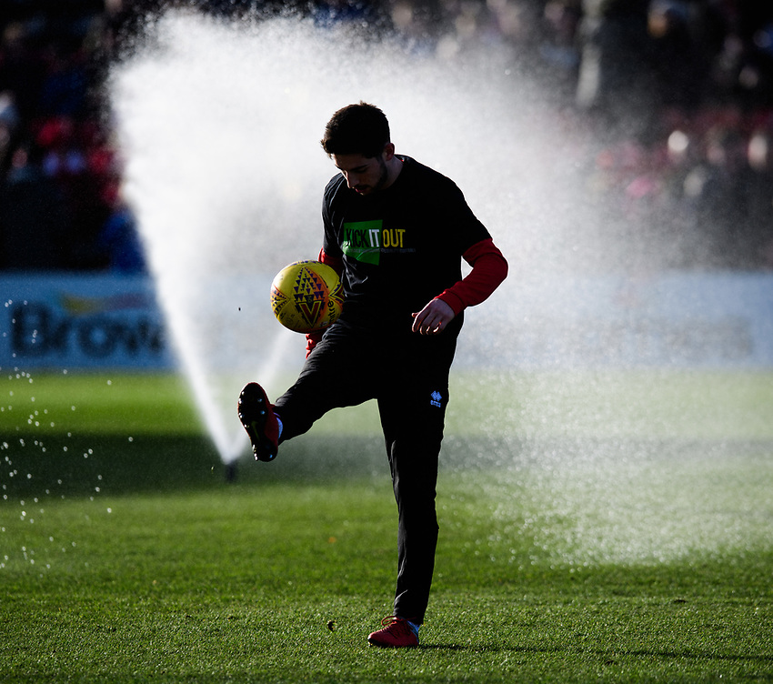 Lincoln City's Tom Pett during the pre-match warm-up<br /> <br /> Photographer Chris Vaughan/CameraSport<br /> <br /> The EFL Sky Bet League Two - Lincoln City v Northampton Town - Saturday 9th February 2019 - Sincil Bank - Lincoln<br /> <br /> World Copyright © 2019 CameraSport. All rights reserved. 43 Linden Ave. Countesthorpe. Leicester. England. LE8 5PG - Tel: +44 (0) 116 277 4147 - admin@camerasport.com - www.camerasport.com
