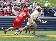 Annapolis, MD - May 20, 2018: Maryland Terrapins Justin Shockey (3) wins the faceoff during the quarterfinal game between Maryland vs Cornell at  Navy-Marine Corps Memorial Stadium in Annapolis, MD.   (Photo by Elliott Brown/Media Images International)