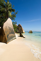 Seychelles, Island La Digue, Anse Source d'Argent: famous beach with granite rocks<br />