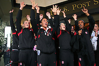 31 March 2008: Jayne Appel, Rosalyn Gold-Onwude, JJ Hones, Candice Wiggins and the team dance with the Stanford Band before leaving for the arena. Stanford won 98-87 over the University of Maryland in the elite eight game of the NCAA Division 1 Women's Basketball Championship in Spokane, WA.