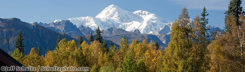 """""""Woman Visitor Takes Photographs The Southside View Of Mt. Mckinley And Alaska Range From The Alaska Veteran's Memorial Rest Area Along George Parks Highway, Denali State Park, Southcentral Alaska, Autumn"""""""