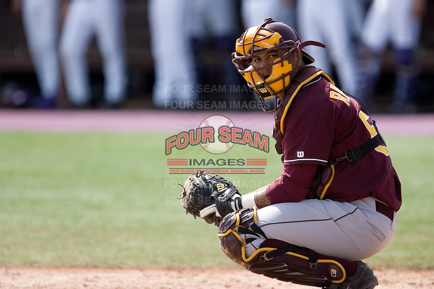 April 5, 2009: Arizona State Sun Devils catcher Carlos Ramirez during a Pac-10 game against the University of Washington at Husky Ballpark in Seattle, Washington.