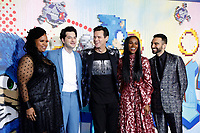 """LOS ANGELES - FEB 12:  Natasha Rothwell, Ben Schwartz, Jim Carrey, Tika Sumpter, Lee Majdoub at the """"Sonic The Hedgehog"""" Special Screening at the Village Theater on February 12, 2020 in Westwood, CA"""