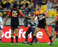 Chiefs backs Tana Umaga and Stephen Donald. Super 15 rugby match - Hurricanes v Chiefs at Westpac Stadium, Wellington, New Zealand on Saturday, 12 March 2011. Photo: Dave Lintott / lintottphoto.co.nz