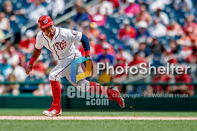 1 August 2018: Washington Nationals infielder Wilmer Difo steals second in the 7th inning against the New York Mets at Nationals Park in Washington, DC. The Nationals defeated the Mets 5-3 to sweep the 2-game weekday series. Mandatory Credit: Ed Wolfstein Photo *** RAW (NEF) Image File Available ***