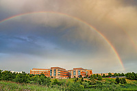 A rainbow over Sentara Martha Jefferson Hospital. Photo/Andrew Shurtleff Photography, LLC