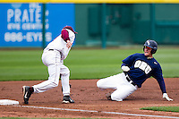 Spencer Barnett (2) of the Oral Roberts Golden Eagles gets tagged out at third base in an attempt to steal during a game against the Missouri State Bears on March 27, 2011 at Hammons Field in Springfield, Missouri.  Photo By David Welker/Four Seam Images