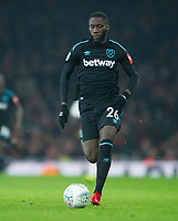 and West Ham's Arthur Masuaku during the Carabao Cup QF match between Arsenal and West Ham United at the Emirates Stadium, London, England on 19 December 2017. Photo by Andrew Aleksiejczuk / PRiME Media Images.