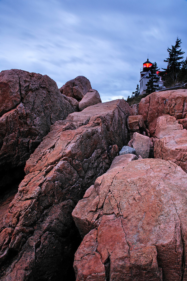 Bass Harbor Light and pink granite, Bass Harbor, Hancock County, Maine, USA