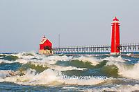 64795-01207 Grand Haven South Pier Lighthouse at sunrise on Lake Michigan, Ottawa County, Grand Haven, MI