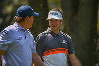 Phil Mickelson (USA) and Bubba Watson (USA) chat as they depart the 14th tee during round 1 of the World Golf Championships, Mexico, Club De Golf Chapultepec, Mexico City, Mexico. 3/1/2018.<br /> Picture: Golffile | Ken Murray<br /> <br /> <br /> All photo usage must carry mandatory copyright credit (&copy; Golffile | Ken Murray)