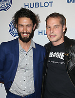 LOS ANGELES, CA - NOVEMBER 7: Tom Franco, Shepard Fairey, at Photo Op For Hulu's 'Obey Giant at the The Theatre at Ace Hotel in Los Angeles, California on November 7, 2017. <br /> CAP/MPI/FS<br /> &copy;FS/MPI/Capital Pictures