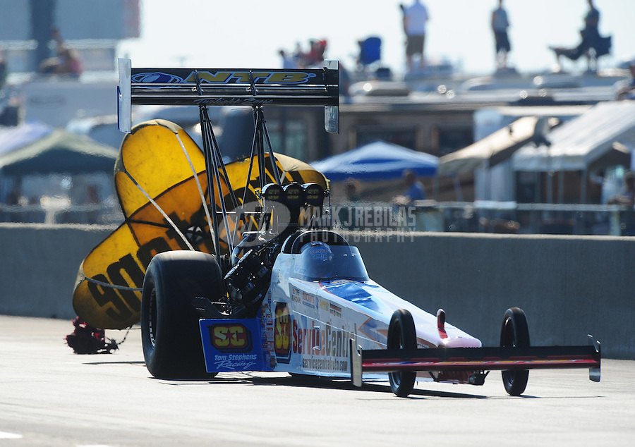 Jul, 9, 2011; Joliet, IL, USA: NHRA top fuel dragster driver Dom Lagana during qualifying for the Route 66 Nationals at Route 66 Raceway. Mandatory Credit: Mark J. Rebilas-