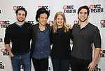 """Creative Team: Choreographer Jeff Kuperman, writer Steven Sater, writer/director Jessie Nelson, and choreographer Rick Kuperman attend the Photo Call for the MCC Theater's World Premiere production of """"Alice by Heart"""" at the New 42nd Street Studios on December 17, 2018 in New York City."""
