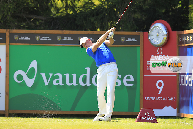 Jamie DONALDSON (WAL) tees off the 9th tee during Saturday's Round 3 of the 2014 Omega European Masters held at the Crans Montana Golf Club, Crans-sur-Sierre, Switzerland.: Picture Eoin Clarke, www.golffile.ie: 6th September 2014
