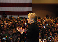 Hillary Clinton addresses a crowd of supporters during the 2008 presidential election at Monona Terrace convention center in Madison, Wisconsin