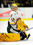 30 January 2010: University of Vermont Catamount goaltender Rob Madore, a Sophomore from Pittsburgh, PA, in action against the University of Maine Black Bears at Gutterson Fieldhouse in Burlington, Vermont. The Maine Black Bears and the Catamounts played to a 4-4 tie in the second game of their America East weekend series. Mandatory Credit: Ed Wolfstein Photo