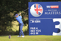 Paul Dunne (IRL) on the 3rd tee during Round 3 of the Sky Sports British Masters at Walton Heath Golf Club in Tadworth, Surrey, England on Saturday 13th Oct 2018.<br /> Picture:  Thos Caffrey | Golffile