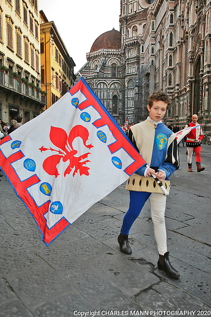 Florence is a city of art and colorful history. An historical parade in the shadow of the great catherdal called the Duomo is not an unusual sight.