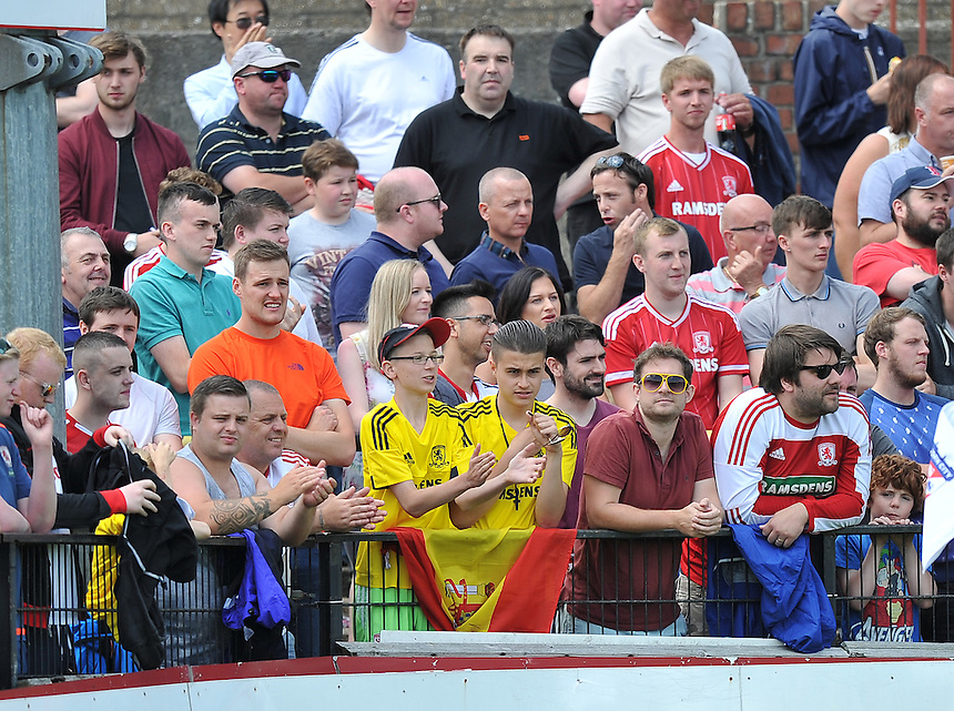 Fans<br /> <br /> Photographer Dave Howarth/CameraSport<br /> <br /> Football - Pre-Season - The Football League - York City v Middlesbrough - Saturday 11th July 2015 - Bootham Crescent - York<br /> <br /> &Acirc;&copy; CameraSport - 43 Linden Ave. Countesthorpe. Leicester. England. LE8 5PG - Tel: +44 (0) 116 277 4147 - admin@camerasport.com - www.camerasport.com