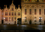 Town Hall Stadhuis and Civil Registry at Night, Burg Square, Bruges, Brugge, Belgium