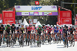 The riders in action during the Madrid Challenge by La Vuelta was ridden over 87km, with 15 laps on a 5.8km route around the iconic Plaza Cibeles, Madrid, Spain. 10th September 2017.<br /> Picture: Unipublic/&copy;photogomezsport | Cyclefile<br /> <br /> <br /> All photos usage must carry mandatory copyright credit (&copy; Cyclefile | Unipublic/&copy;photogomezsport)