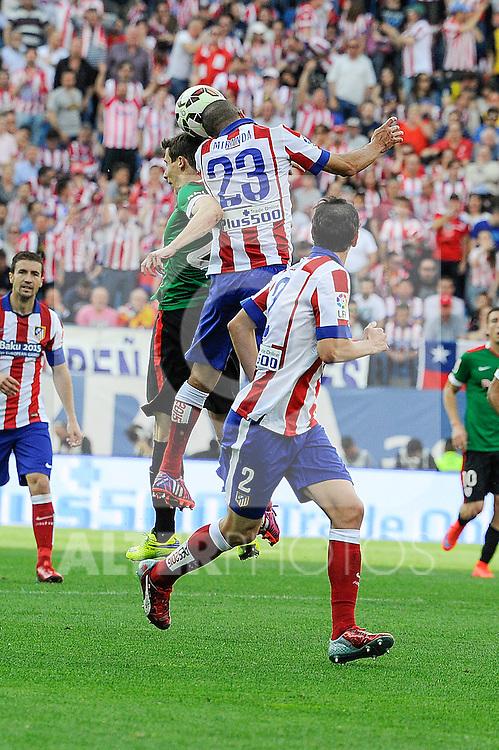 Atletico de Madrid´s Joao Miranda and Athletic Club´s  during 2014-15 La Liga match between Atletico de Madrid and Athletic Club at Vicente Calderon stadium in Madrid, Spain. May 02, 2015. (ALTERPHOTOS/Luis Fernandez)